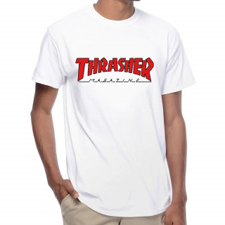Camiseta Thrasher Outlined Branca Logo