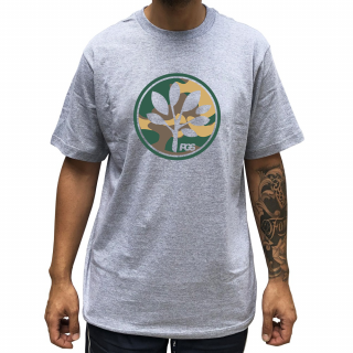 Camiseta Cinza  PGS  Logo Camuflado