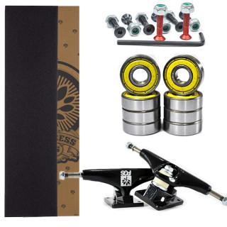Kit com Truck Pro PGS, Lixa emborrachada,  parafuso de base 3/8 e Rolamento Abec