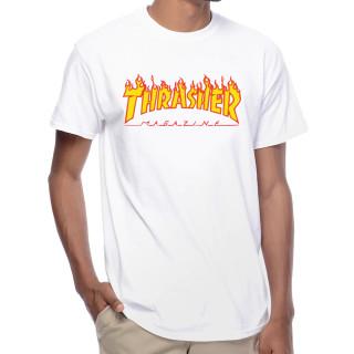 Camiseta Thrasher Skateboard Branca Flame Logo