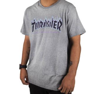 Camiseta Thrasher Skateboard Cinza Purple Flame